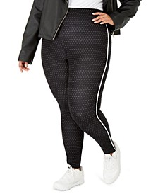 Plus Size Pin-Dot Knit High-Waist Cropped Skimmer Leggings