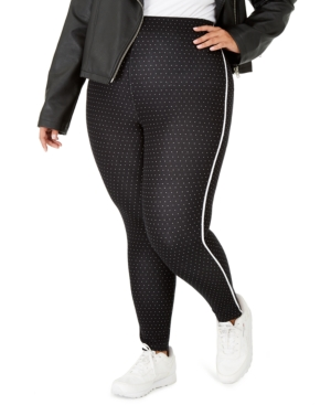 Hue Knits PLUS SIZE PIN-DOT KNIT HIGH-WAIST CROPPED SKIMMER LEGGINGS