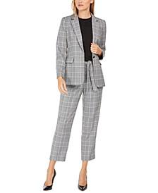 Plaid One-Button Blazer, Sleeveless Pleated-Neck Top & Plaid Tie-Waist Ankle Pants