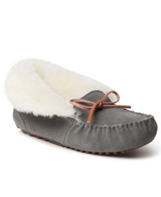 Womens Suede Shearling Moccasin Slippers House Shoes With Fur Slip On Black 8