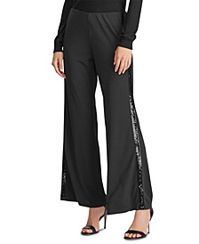 Petite Sequined Tuxedo-Stripe Pants
