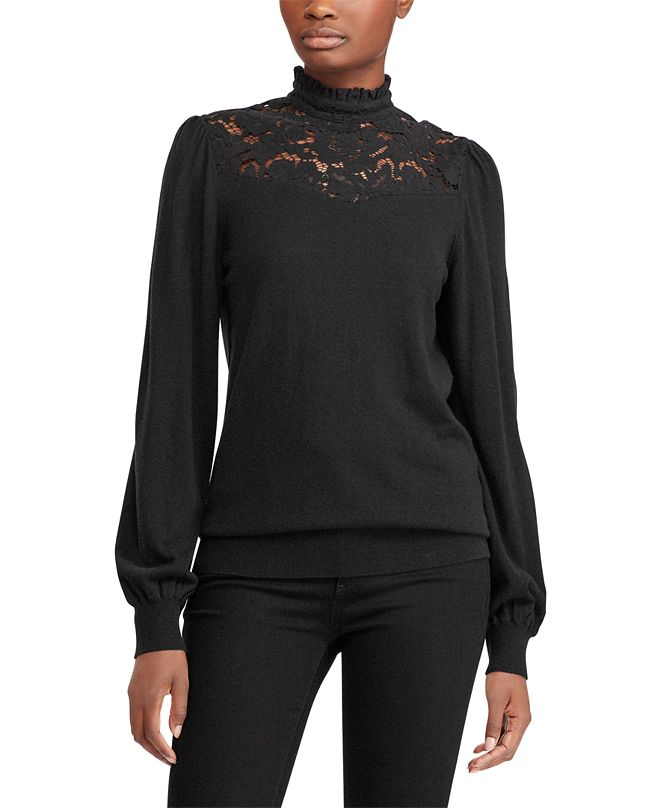 Lauren Ralph Lauren Petite Lace-Yoke Top