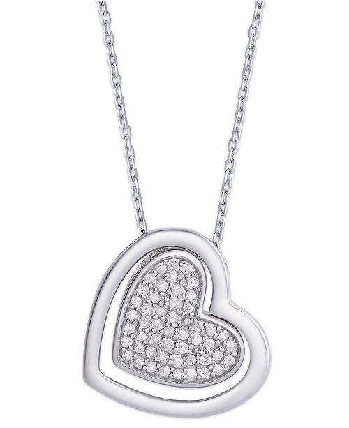 Macy's Diamond 1/4 ct. t.w. Heart Pendant Necklace in Sterling Silver