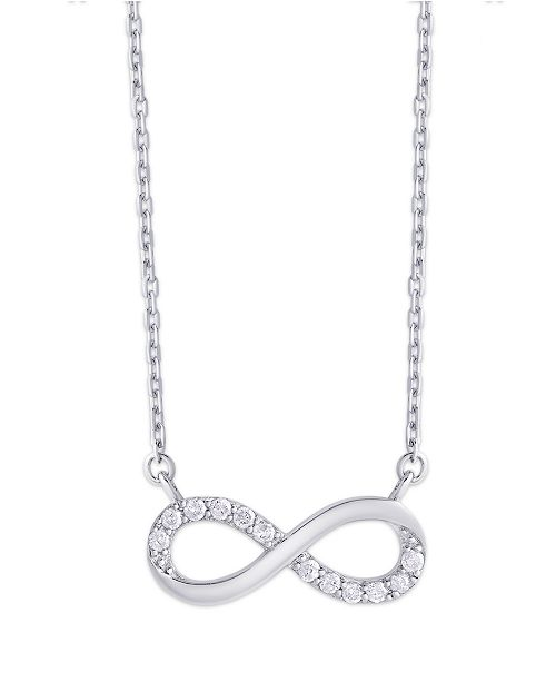 Macy's Diamond 1/5 ct. t.w. Infinity Necklace in Sterling Silver