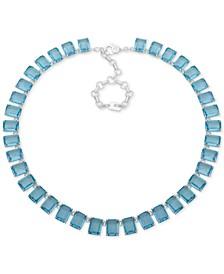 "Silver-Tone Stone Collar Necklace, 17"" + 3"" extender"