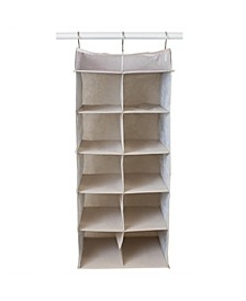 HDS Trading Kensington Collection 10 Shelf Collapsible Hanging Closet Organizer with Mesh Top