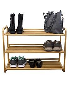 HDS Trading 3 Tier Slatted Shelf Bamboo Shoe Rack