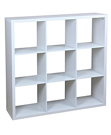 HDS Trading 9 Open Cube Organizing Wood Storage Shelf
