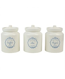 HDS Trading Crest Ceramic Canister Set with Knob Top Lid - 3 Piece