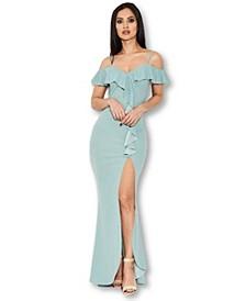 Cold Shoulder Frill Detail Split Dress