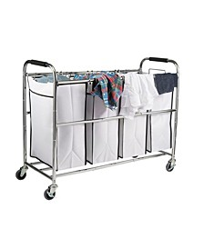 4 Bag Heavy Duty Laundry Hamper Sorter Cart with Wheels