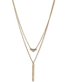 """Gold-Tone Pavé & Mother-of-Pearl Layered Necklace, 17-1/2"""" + 2"""" extender"""