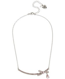 "Silver-Tone Crystal Bow Collar Necklace, 15"" + 3"" extender"