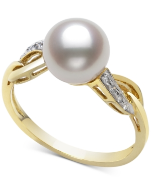 Cultured Freshwater Pearl (8mm) & Diamond (1/20 ct. t.w.) Ring in 14k Gold