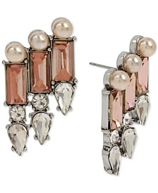 Silver-Tone Crystal & Imitation Pearl Statement Earrings