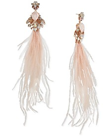Rose Gold-Tone Crystal, Stone & Feather Chandelier Earrings
