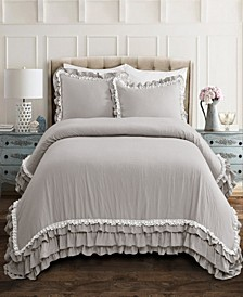 Ella Ruffle Lace 3-Piece Full/Queen Comforter Set