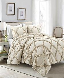 Ruffle Diamond 3-Piece Full/Queen Comforter Set