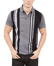Men's Regular-Fit Vertical Stripe Polo, Created for Macy's