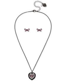 Stone Heart Pendant Necklace & Bow Stud Earrings Set