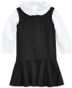 60s 70s Kids Costumes & Clothing Girls & Boys Polo Ralph Lauren Baby Girls Cotton Shirt  Ponte Dress Set $44.50 AT vintagedancer.com