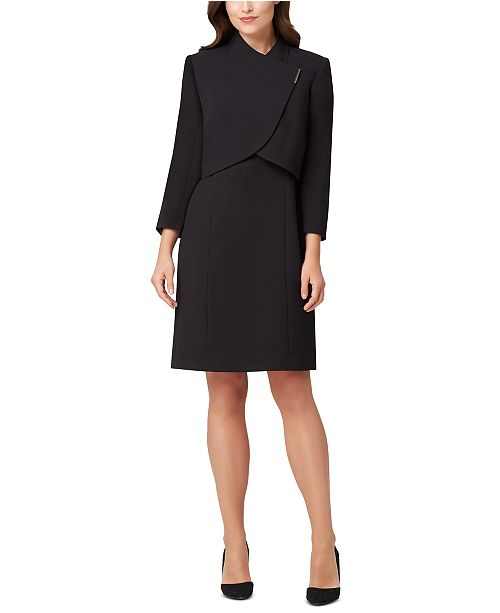 Tahari ASL Wrap-Jacket Dress Suit