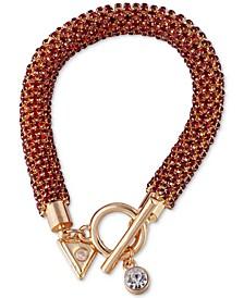 Gold-Tone Crystal Tubular Bracelet