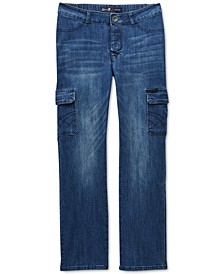 Seven7 Men's Peyre Adaptive Seated Classic Straight-Fit Stretch Textured Cargo Jeans