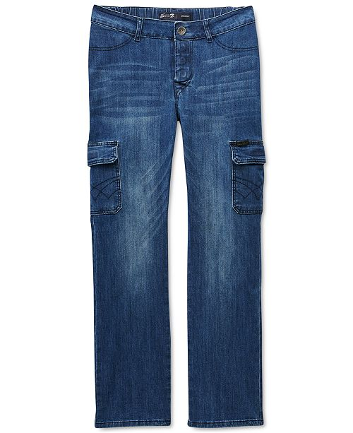 Seven7 Seven7 Men's Peyre Adaptive Seated Classic Straight-Fit Stretch Textured Cargo Jeans