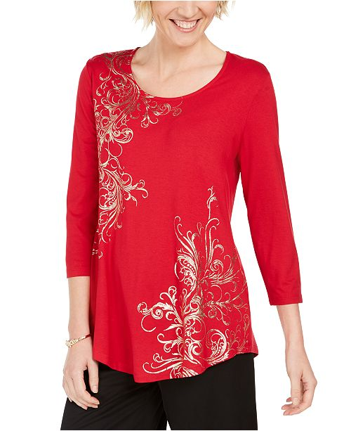 JM Collection Metallic-Print Tunic Top, Created For Macy's