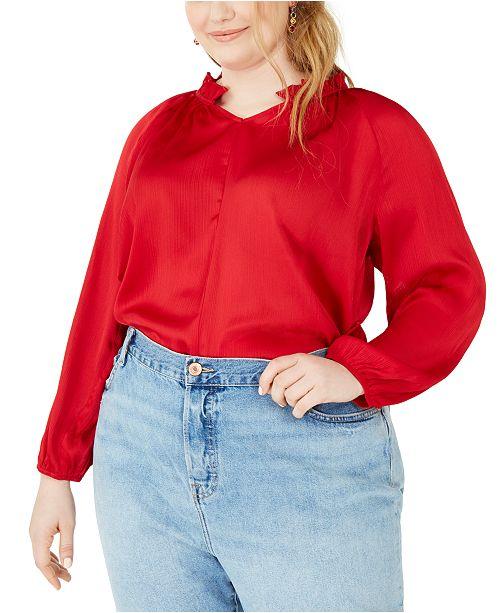 NY Collection Plus Size Mandarin Collar Blouse