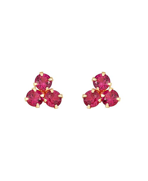 Macy's Certified Ruby (3/4 ct. t.w.) Button Stud in 10k Yellow Gold