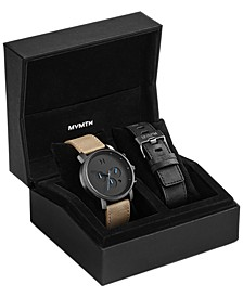 Men's Chronograph Gunmetal Sandstone Leather Watch Set 45mm