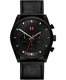 Men's Chronograph Ember Black Element Black Leather Strap Watch 44mm