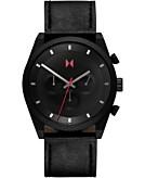 MVMT Mens Chronograph Ember Black Element Black Leather Strap Watch 44mm