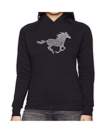 Women's Word Art Hooded Sweatshirt -Horse Breeds