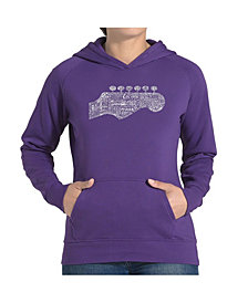 LA Pop Art Women's Word Art Hooded Sweatshirt - Guitar Head