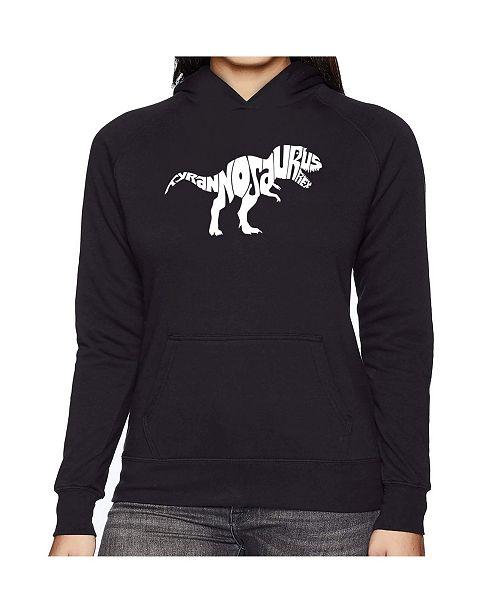 LA Pop Art Women's Word Art Hooded Sweatshirt -Tyrannosaurus Rex