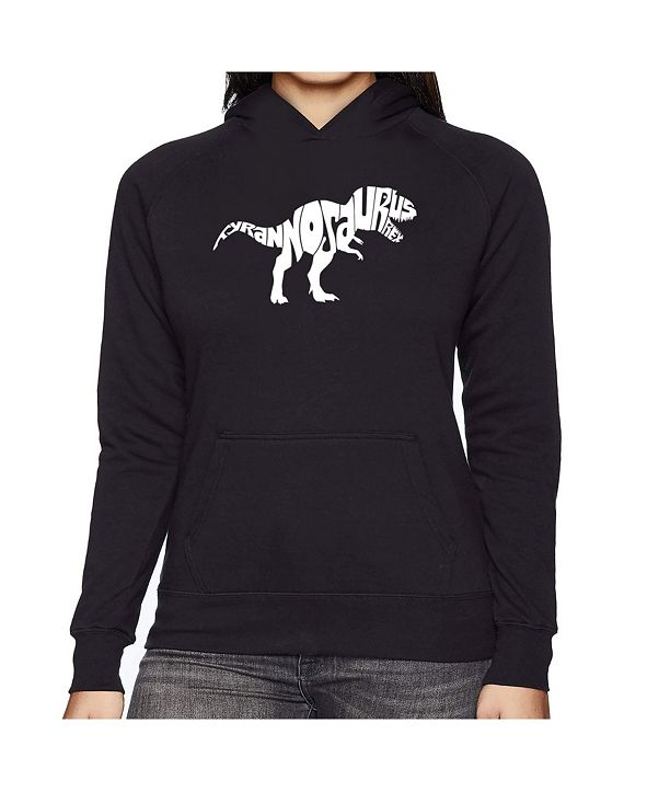 LA Pop Art Women's Word Art Hooded Sweatshirt -Tyrannosaurus Rex