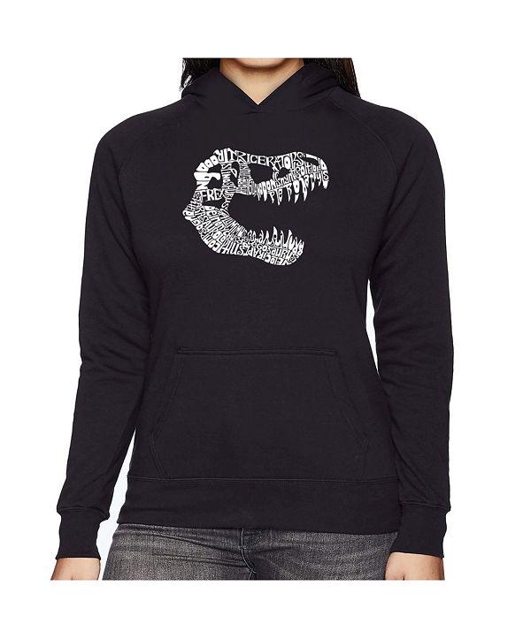 LA Pop Art Women's Word Art Hooded Sweatshirt -Trex