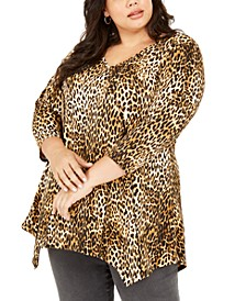 Plus Size Printed Pointed-Hem Top