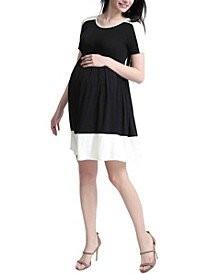 Kristin Maternity Colorblock Skater Dress