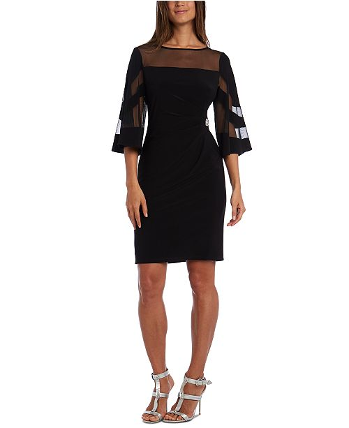 R & M Richards Petite Illusion-Detail Bell-Sleeve Dress