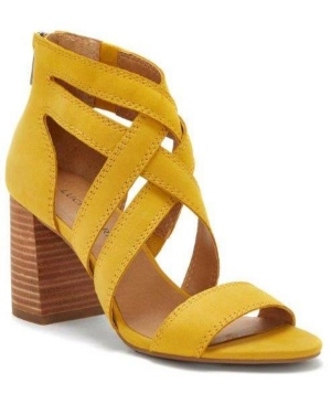 Crisscrossed in city-chic style, the Vyrah sandals by Lucky Brand boost a strappy caged profile on a chunky block heel.