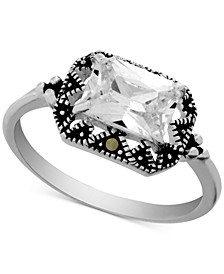 Swarovski Marcasite & Crystal Statement Ring in Fine Silver-Plate