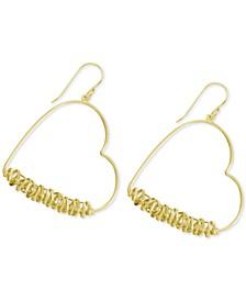 Wire Wrapped Heart Drop Earrings in Gold-Plate