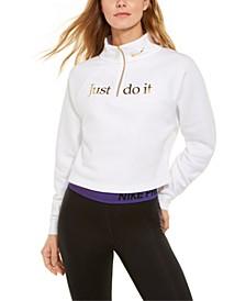 Women's Sportswear Shine Metallic-Graphic Half-Zip Top