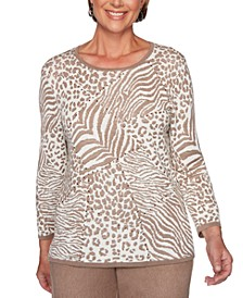 Petite First Frost Animal-Print Jacquard Sweater