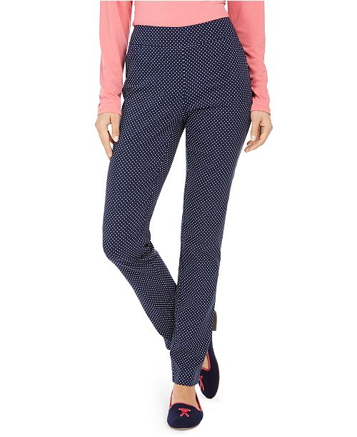 Charter Club Dot-Print Pull-On Pants, Created for Macy's