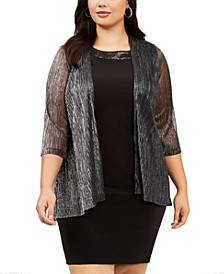 Plus Size Open-Front Metallic Shrug
